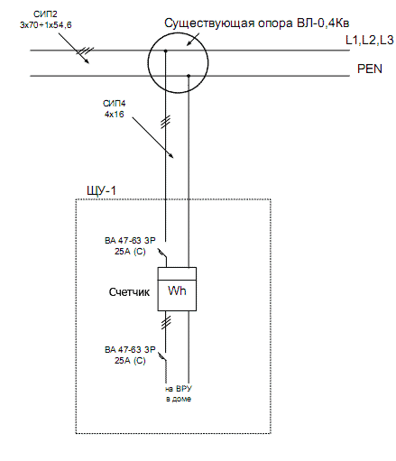 линейная схема электроснабжения частного дома aliin